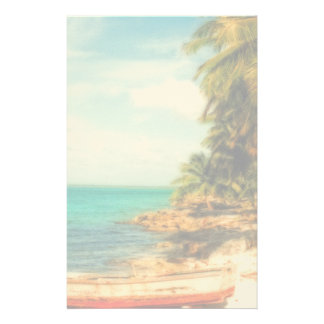 Dreamy Tropical Beach with Rowboat Stationery