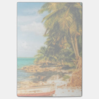 Dreamy Tropical Beach with Rowboat Post-it® Notes