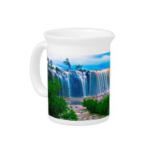 Dreamy Waterfall Landscape Drink Pitchers