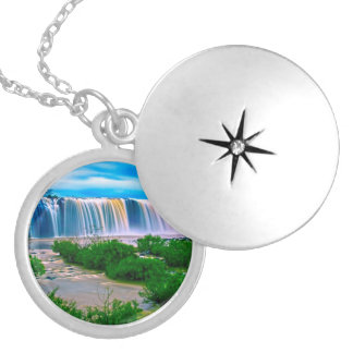 Dreamy Waterfall Landscape Silver Plated Necklace