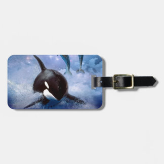 Dreamy Whale and dolphins Bag Tag