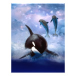 Dreamy Whale and dolphins Customized Letterhead