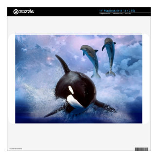 Dreamy whale and dolphins decal for MacBook air