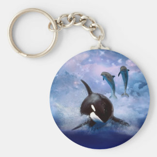 Dreamy Whale and dolphins play Basic Round Button Keychain