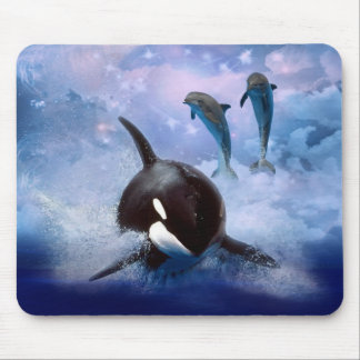 Dreamy Whale and dolphins play Mouse Pad