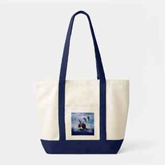 Dreamy Whale and dolphins play Tote Bag