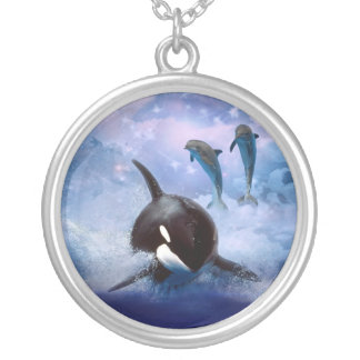 Dreamy Whale and dolphins Round Pendant Necklace