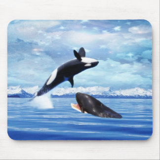 Dreamy Whales enjoying the ocean Mouse Pad