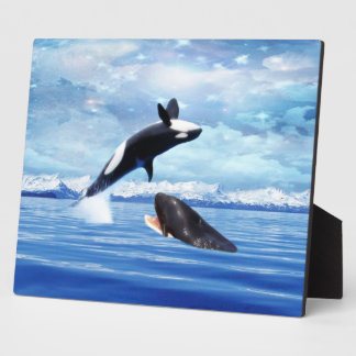 Dreamy Whales enjoying the ocean Plaque