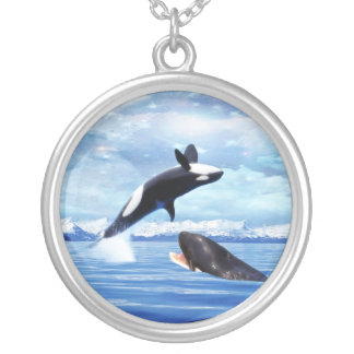 Dreamy Whales enjoying the ocean Round Pendant Necklace