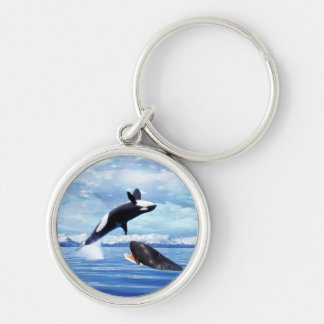 Dreamy Whales enjoying the ocean Silver-Colored Round Keychain