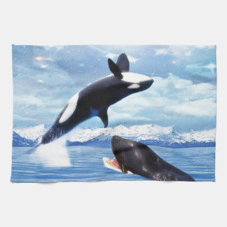 Dreamy whales in fun and play kitchen towel
