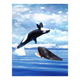 Dreamy whales in fun and play personalized letterhead