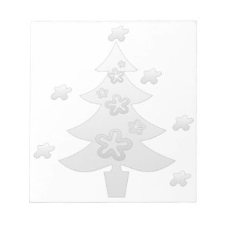 Dreamy White Christmas Tree Silver Star Notepad