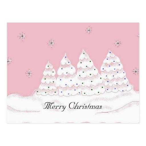 Dreamy White Christmas Trees Postcard