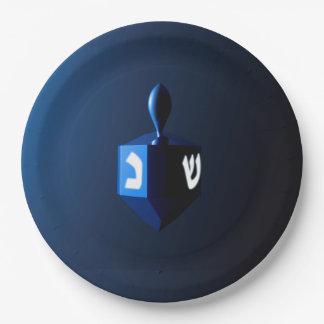 Dreidel azul brillante platos de papel