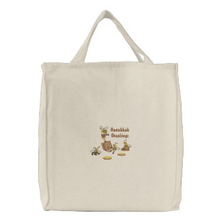 Dreidel Bees Embroidered Tote Bag