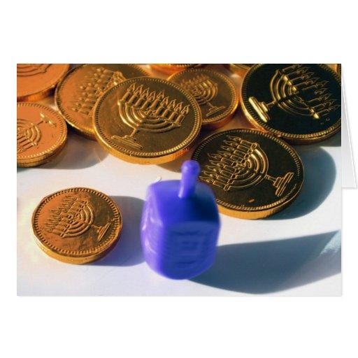 Dreidel de giro con Gelt (monedas del chocolate) Tarjetas