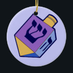"""dreidel hanging ornament<br><div class=""""desc"""">A 2 sided ornament for Hanukkah. An old fashioned child's toy. A dreidel of blue,  purple,  navy and gold. Symbol of shin on front side of spinning top.</div>"""