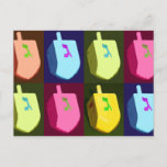 "Dreidel Hanukkah Postcard<br><div class=""desc"">Colorful dreidel card after style. Dreidels are a symbol of knowledge. Jewish kids pretended to play dreidel during eras when learning the Torah was prohibited.</div>"
