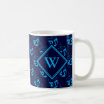 """DREIDEL Happy Hanukkah Hebrew BLUE CYAN Monogram Coffee Mug<br><div class=""""desc"""">Stylish midnight navy blue COFFEE MUG to celebrate HANUKKAH. Navy and cyan blue color theme with all over cyan DREIDEL print. There is a customizable monogram on the front, and customizable placeholder text on the back which says חנוכה שמח (HAPPY HANUKKAH in Hebrew). This would make an ideal gift for...</div>"""