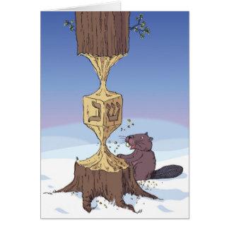 dreidel hora del castor tarjeta de felicitación