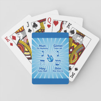Dreidel Instructions (Blue Starburst) Playing Cards