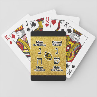 Dreidel Instructions (Gold Glitter) Playing Cards