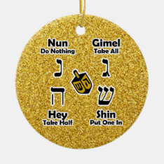 Dreidel Instructions Happy Hanukkah - Gold Glitter Ceramic Ornament at Zazzle