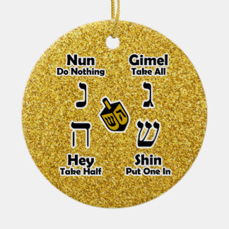 Dreidel Instructions Happy Hanukkah - Gold Glitter Ceramic Ornament