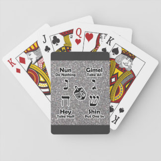 Dreidel Instructions (Silver Glitter) Playing Cards