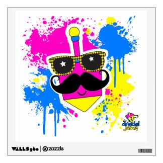 Dreidel Mustache for Hannukah (Pink) Wall Decal