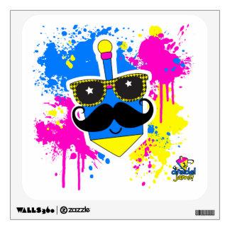 Dreidel Mustache for Hannukah Wall Decal