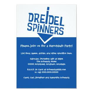 Dreidel Spinners Hanukkah Party Card at Zazzle