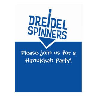 Dreidel Spinners Hanukkah Party Postcard