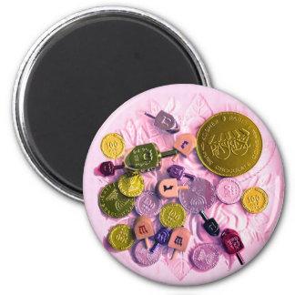 Dreidels & Chanukah Gelt 2 Inch Round Magnet