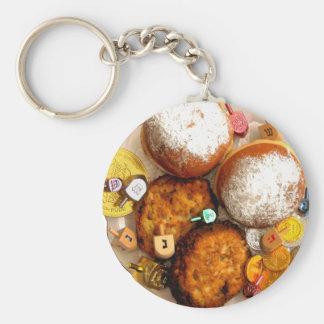 Dreidels & Chanukah Gelt Basic Round Button Keychain