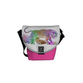 Drenaje artístico del leopardo colorido de la bolsa messenger