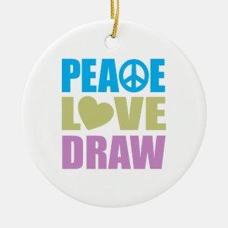 Drenaje del amor de la paz adornos de navidad