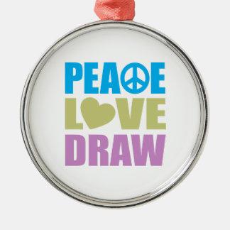 Drenaje del amor de la paz adorno redondo plateado
