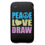 Drenaje del amor de la paz iPhone 3 tough funda