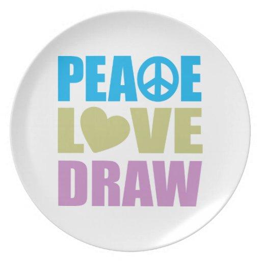 Drenaje del amor de la paz plato de cena