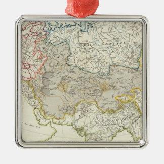 Drenaje del río de Asia y de Europa Adorno Cuadrado Plateado