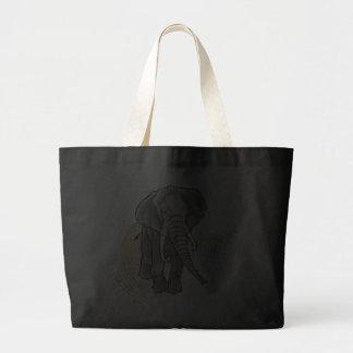Drenaje que camina del elefante africano bolsa tela grande
