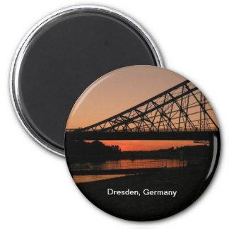 Dresden, Alemania: Puente azul de la maravilla Imán Redondo 5 Cm
