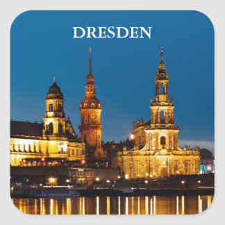 Dresden at Night Square Sticker