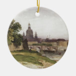 Dresden. Bridge of August by Ivan Shishkin Double-Sided Ceramic Round Christmas Ornament