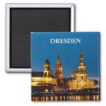 Dresden en la noche imán cuadrado