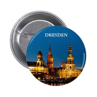 Dresden en la noche pin redondo de 2 pulgadas
