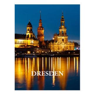 Dresden en la noche tarjeta postal